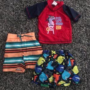 Toddler Boy Swim Trunks And Rashguard